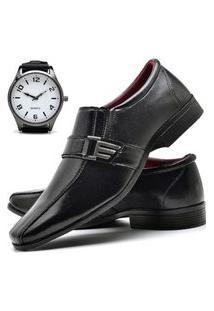 Sapato Social Masculino Db Now Com Relógio New Dubuy 809Od Preto