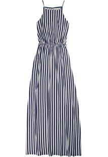 Vestido Azul Longo Listrado Em Viscose
