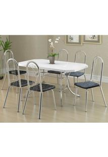 Conjunto Mesa 1507 Branca Cromada Com 6 Cadeiras 182 Fantasia Preto Carraro