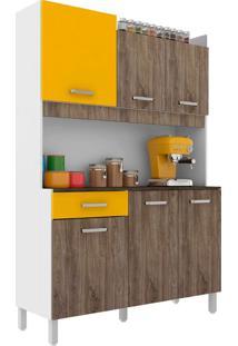 Cozinha Compacta Malaga 6 Pt 1 Gv Rústico E Amarela