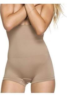 Calcinha Modeladora Boxer Alta Sem Costura - Feminino-Bege