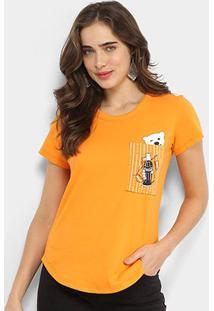 Camiseta Coca-Cola Bolso Polar Bear Feminina - Feminino-Laranja Escuro
