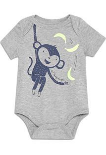 Body Bebê Gap Malha Estampado Masculino - Masculino-Cinza