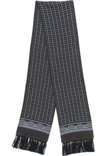 Dolce & Gabbana Echarpe Estampada De Seda Com Franjas - Preto