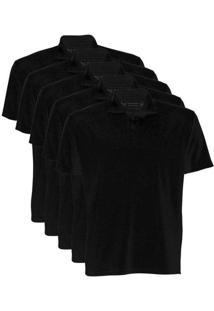 Kit De 5 Camisas Polo Masculinas Preto