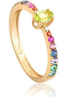 Anel De Ouro 18K Solitário Meia Aliança De Diamante E Mix De Gemas Colors-Coleção Paradis