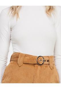 Shorts Cintura Alta Cotelê Cinto Bege Fur - Lez A Lez