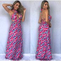 282b173517 Vestido Longo Viscose Estampado Rosa Strappy-P