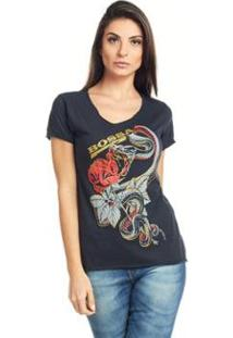 Camiseta Feminina Básica Estampada Bossa - Feminino
