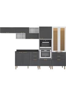 Cozinha Modulada 9 Peças Com Tampo E Nevada 5660Mf-Multimóveis - Branco Premium / Grafite Premium / Branco Premium