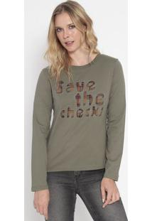 "Camiseta ""Save The Checks""- Verde Escuro & Bege- Lillily Daisy"