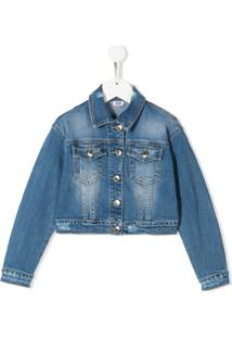 Gcds Kids Long Sleeve J'Adore Denim Jacket - Azul