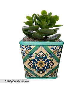 Cachepot Squared Portuguese Tile- Verde & Azul-11X10Urban