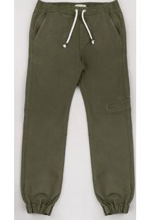 Calça De Sarja Juvenil Jogger Verde Militar