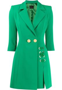 Elisabetta Franchi Fitted Double-Breasted Coat - Verde