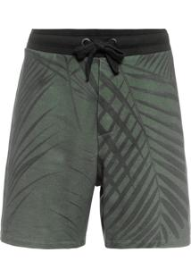 Bermuda Masculina Over Palm Leaf - Verde
