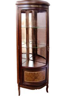 Cristaleira Cadori Vitrine De Canto Personalizado Madeira Maciça Detalhe Em Marchetaria Design Clássico