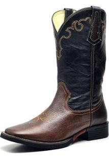 Bota Couro Country Texana Top Franca Shoes Masculino - Masculino-Café