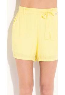 Short Quintess Amarelo Com Elástico E Faixa