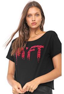Camiseta Cropped My Favorite Thing(S) Lettering Neon Preta