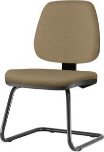 Cadeira Job Assento Courino Marrom Claro Base Fixa Preta - 54561 Sun House