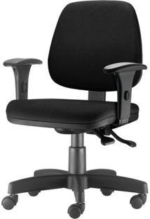 Cadeira Job Com Bracos Assento Courino Base Rodizio Metalico Preto - 54577 Sun House