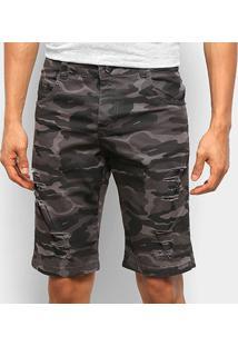 Bermuda Sarja Ecxo Camuflada Estiletado Masculina - Masculino-Cinza+Preto