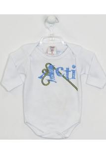 Body Bebê Masculino Manga Longa Corda Elefante Branco -M - Masculino-Branco