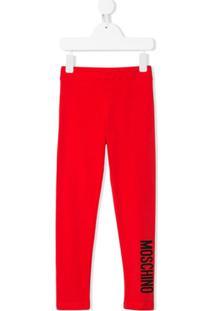 Moschino Kids Legging Com Estampa De Logo - Vermelho