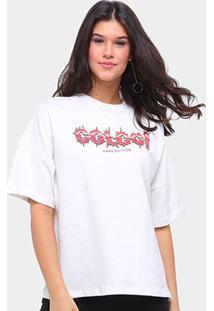 Camiseta Colcci Oversized Hard Edition Feminina - Feminino-Areia