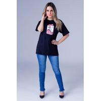 22e7a9179 Camiseta Equivoco Oversized Karina Feminina - Feminino-Preto