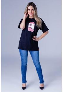 Camiseta Equivoco Oversized Karina Feminina - Feminino-Preto