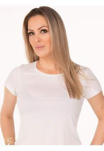 Camiseta Cora Decote Redondo Em Modal Branca