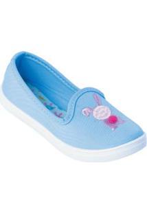 Sapatilha Infantil Azul Em Tecido Bordado