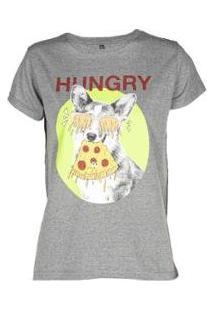 Camiseta Estampada Manga Curta Besni Feminina - Feminino-Chumbo