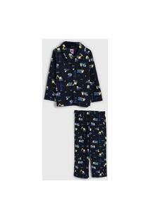Pijama Tip Top Longo Infantil Estampado Azul-Marinho/Amarelo