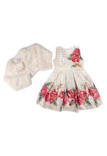 Vestido Com Casaco Infantil Barrado Floral Vermelho - Anjos Baby Chic Palha