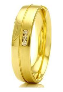 Aliança De Casamento Feminina Em Ouro 18K 750 Wm Joias 4Mm Com Zircônia F2331 - Feminino-Dourado