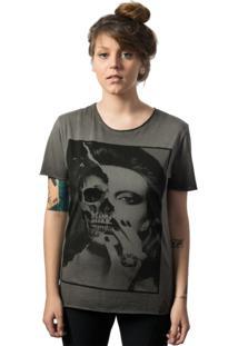 Camiseta Skull Lab Caveira Girl Corte A Fio Cinza