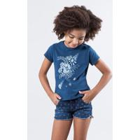 787e8f4942 Camiseta Infantil Floral Tinta Reserva Mini Feminina - Feminino-Azul  Petróleo