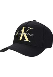 Boné Calvin Klein Aba Curva Logo Reissue - Feminino-Preto