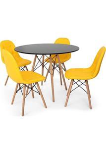 Conjunto Mesa Eiffel Preta 80Cm + 4 Cadeiras Dkr Charles Eames Wood Estofada Botonê Amarela