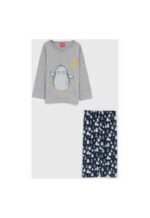 Pijama Tricae Longo Infantil Pinguim Cinza/Azul-Marinho