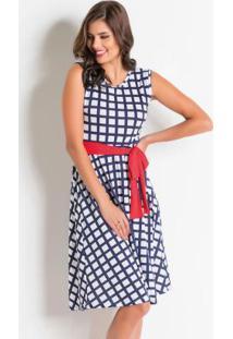 Vestido Com Faixa Geométrico Moda Evangélica
