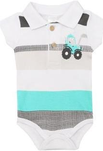 Body Polo Bebê Manga Curta Listrado - Masculino-Branco