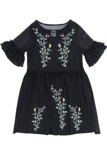 Vestido Infantil Menina Com Tule E Bordados