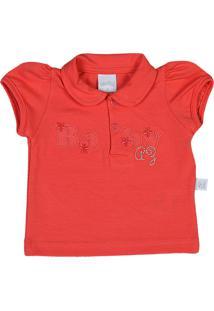 Camiseta Ano Zero Bebê Pólo Malha Cotton Baby - Laranja G