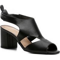 2baed53438 Sandália Couro Shoestock Salto Grosso Nó Feminina - Feminino-Preto