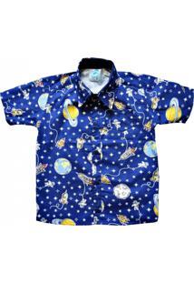 Camisa Blue Kids Social Infantil Manga Curta Astronauta - Kanui