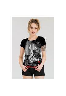 Camiseta Stompy Estampada Feminina Modelo 26 Preta